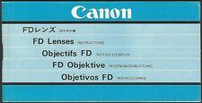 Canon FD Objektive – Deutsch, Japanisch, Englisch, Französisch, Spanisch