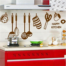 Home Decor Art Vinyl Happy Kitchen PVC Mural Decal Removable Wall Stickers