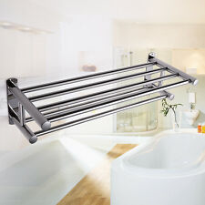 Double Stainless Wall Mounted Bathroom Towel Rail Holder Storage Rack Shelf Bar