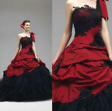 Gothic Red and Black Ball Gowns Vintage One Shoulder Wedding Dresses Bridal Gown