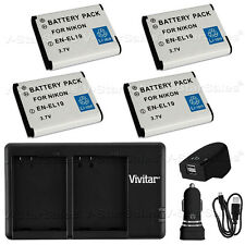 4x EN-EL19 Replacement Battery for Nikon and USB Dual Charger + AC/DC