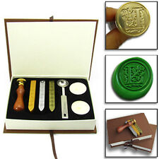 A Set Personalized Wedding Name Logo Gold Plated Wax Seal Stamp Scoop Candle Box