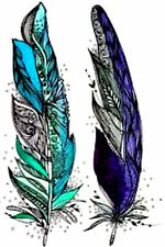 20 water slide nail art  Teal and purple feathers for long nails Trending