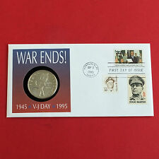 MARSHALL ISLANDS 1995  VJ DAY PROOFLIKE $5 FIRST DAY COIN COVER - coa