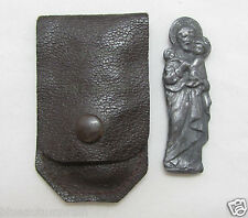"† ANTIQUE CHAPLAIN'S ST JOSEPH GOOD DEATH MILITARY WW1 POCKET SHRINE & CASE 2"" †"