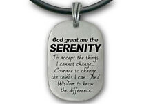 Serenity Prayer Necklace - Christian Pendant PVC Rope- God Grant Me the Serenity