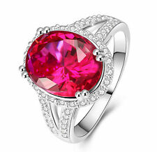 242 Lady/Women's Red Sapphire 14KT White Gold Filled Wedding Ring Gift size 9