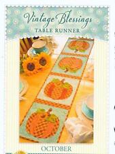 Fall Pumpkin Table Runner Applique & Pieced Quilt Pattern Vintage Blessings