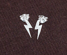 925 Sterling Silver Lightning Bolt Stud Earrings 3x11mm.
