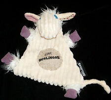 Les Deglingos Poilodos Cream Sheep Lamb Plush Security Blanket Lovey Corduroy