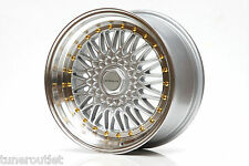 "ULTRALITE RS 17"" 8.5J ET25 5x100 4x100 SILVER GOLD BBS STYLE ALLOY WHEELS Z2358"