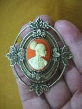 (CA10-21) RARE African American LADY ivory + orange CAMEO Pin Pendant JEWELRY