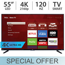 "TCL 55"" 4K Ultra HD 2160p Roku Smart LED TV 120Hz w/ 4 HDMI & USB - 55US57"