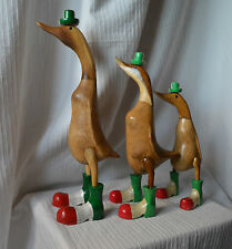 Set of 3 Italian Bamboo Root Duck garden conservatory ornament Italy wooden pond