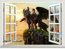 How to Train your Dragon Night Fury Hiccup 3D Window Wall Decals kids Sticker