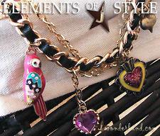 Betsey Johnson Adorable Parrot Heart Charm Bracelet