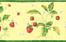 Tuscan Tuscany Fruit Red Strawberry Yellow Green Kitchen Wall paper Border