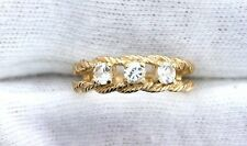 10Kt REAL Yellow Gold 3.5mm White Sapphire Ladies Gemstone Gem  Ring EBS99R65