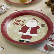 8 Navidad platos de papel Santa Claus Padre Christams Let It Snow Partido Buffet