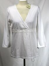 Bass - M - NWT - Solid Crisp White - 3/4 Sleeve V-Neck Knit Tunic Top