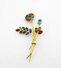 "Vtg Retro Sterling Silver Many Color BIG 3.5""+ Pin Brooch Flower"