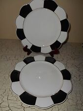 4 CYNTHIA ROWLEY Black White Striped Rim Porcelain Dinner Plates Gold Trim