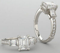1.51 ct Emerald cut DIAMOND Engagement 14k White Gold Ring F VS1, GIA certified