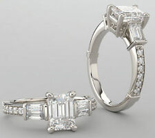 semi -mount for 1.5 ct Emerald cut center Engagement 14k White Gold Ring 0.54 ct