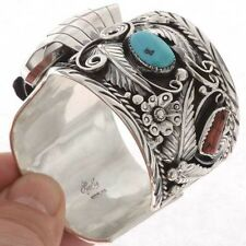 Turquoise Coral Mens Watch Cuff Silver Big Boy by Lucky