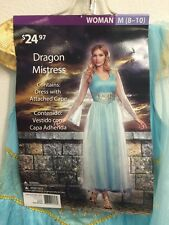 Dragon Mistress Adult Women's Costume Halloween Medium (8-10) Light Blue Nwt
