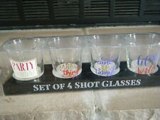 PARTY ANIMAL WILD THING GONE WILD CAN'T BE TAMED SET OF 4 SHOT GLASSES GLASS HTF