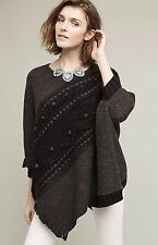 NEW Anthropologie Sleeping On Snow Gray Black Cabled Sweater Poncho Cape $168