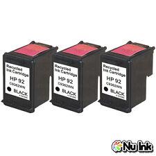 3PK For HP 92 Black C9362WN Remanufactured Ink Cartridges Deskjet 5420 5440