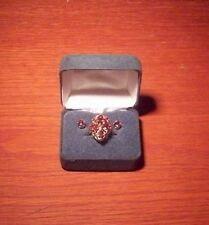 14k Solid Yellow Gold Ring with Garnet Stones and matching earrings - NICE
