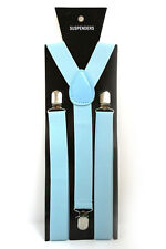 Baby Blue Adjustable Braces Suspenders Mens Womens Fancy Dress Clip On Slim 2.5