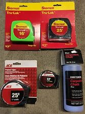 4 QUALITY TAPE MEASURES INCLUDES STARRETT & ACE PLUS 1 BOTTLE CRAFTSMAN CHALK