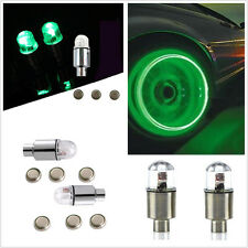 4Pcs Green LED Car SUV Wheel Tyre Tire Air Valve Stem Caps Decoration Light Lamp