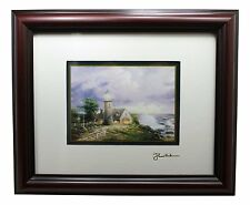 THOMAS KINKADE Framed Matted Print, LIGHT IN THE STORM, Lighthouse