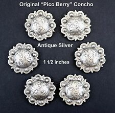 """LOT OF 6 CONCHOS ANTIQUE SILVER PICO BERRY WESTERN RODEO LEATHER 1 1/2 """" NEW"""