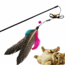Great Kitten Play Interactive Fun Toy Cat Teaser Wand Pet Colorful Feather Bell