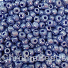 50g glass seed beads - Mid Blue Opaque Lustered - approx 4mm (size 6/0) craft