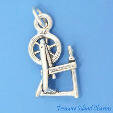SPINNING WHEEL WOOL YARN 3D .925 Solid Sterling Silver Charm Pendant