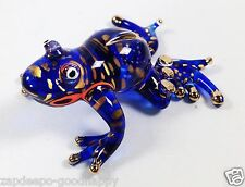 BLUE WILD DART FROG POLKA DOTS PAINTED HAND BLOWN GLASS ANIMALS GOLD RIM GIFT