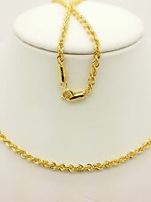 21k Solid Yellow Gold Sparkle Rope Necklace/ Chain 4.42 Grams