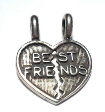 VINTAGE HEART BEST FRIENDS 2 HALVES TO SHARE STERLING SILVER 925 CHARM PENDANT