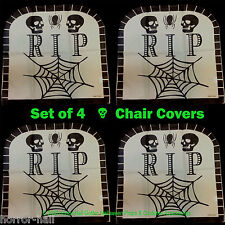 Haunted House-RIP TOMBSTONE CHAIR COVERS-Over the Hill Birthday Decorations-SET4