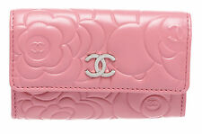 Chanel Pink Lambskin Leather Camellia Flower CC Compact Wallet