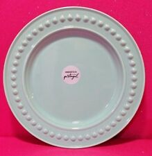 FAPOR PORTUGAL PASTEL BLUE-GREEN AQUA TURQUOISE TEAL 11.25 DINNER PLATE BEADED