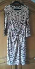 LAURA ASHLEY BROWN BEIGE JERSEY GRAPHIC PATTERN PARTY WORK DRESS 10 UK WAS £80