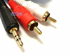 5m 24k Gold OFC 3.5mm Mini Jack STEREO to TWIN 2x RCA Phono Left Right Aux Cable
